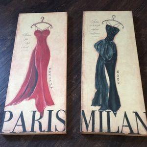 Pair of Paris and Milan canvas